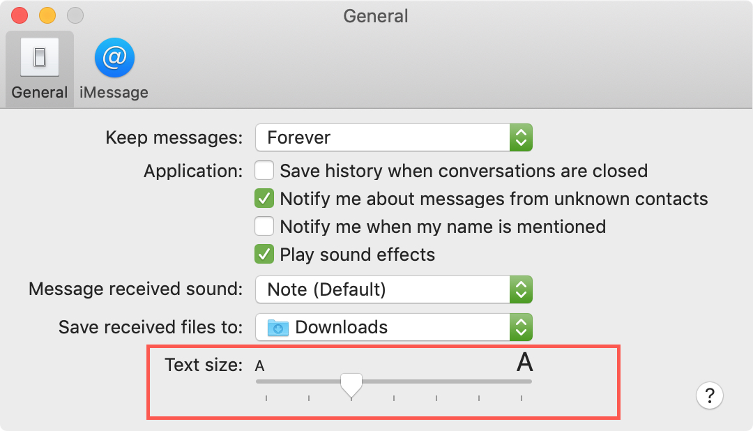 Increase Messages Text Size Mac