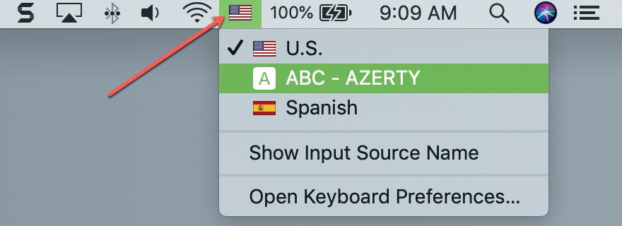 Input Source Button in Menu Bar on Mac