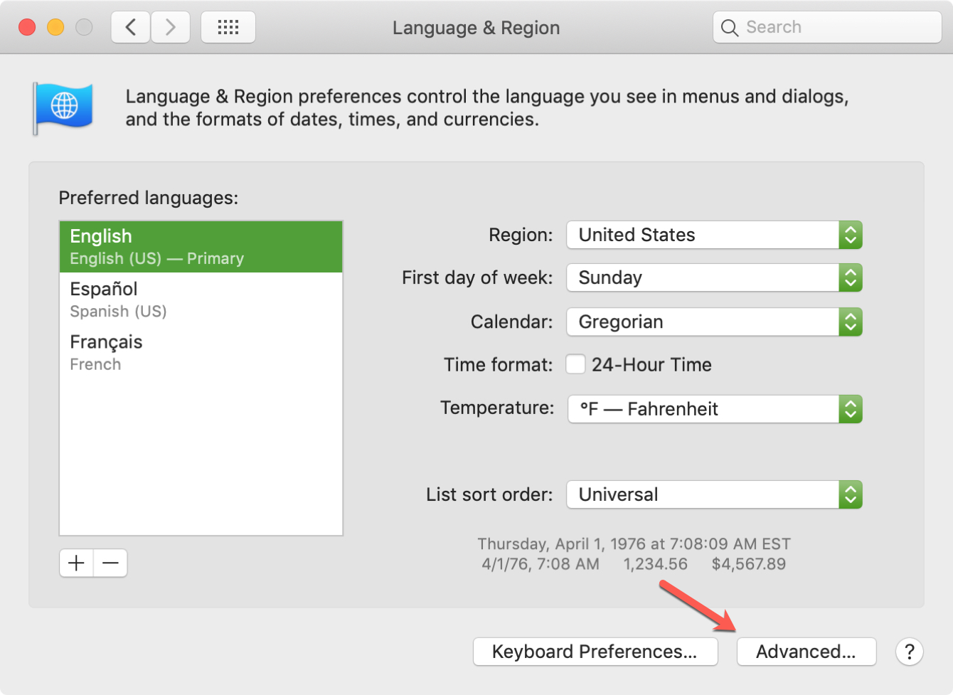 Language and Region Advanced on Mac