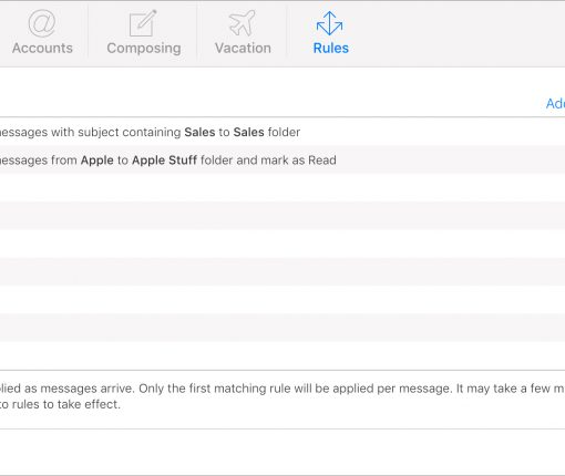 List of Rules in iCloud Mail