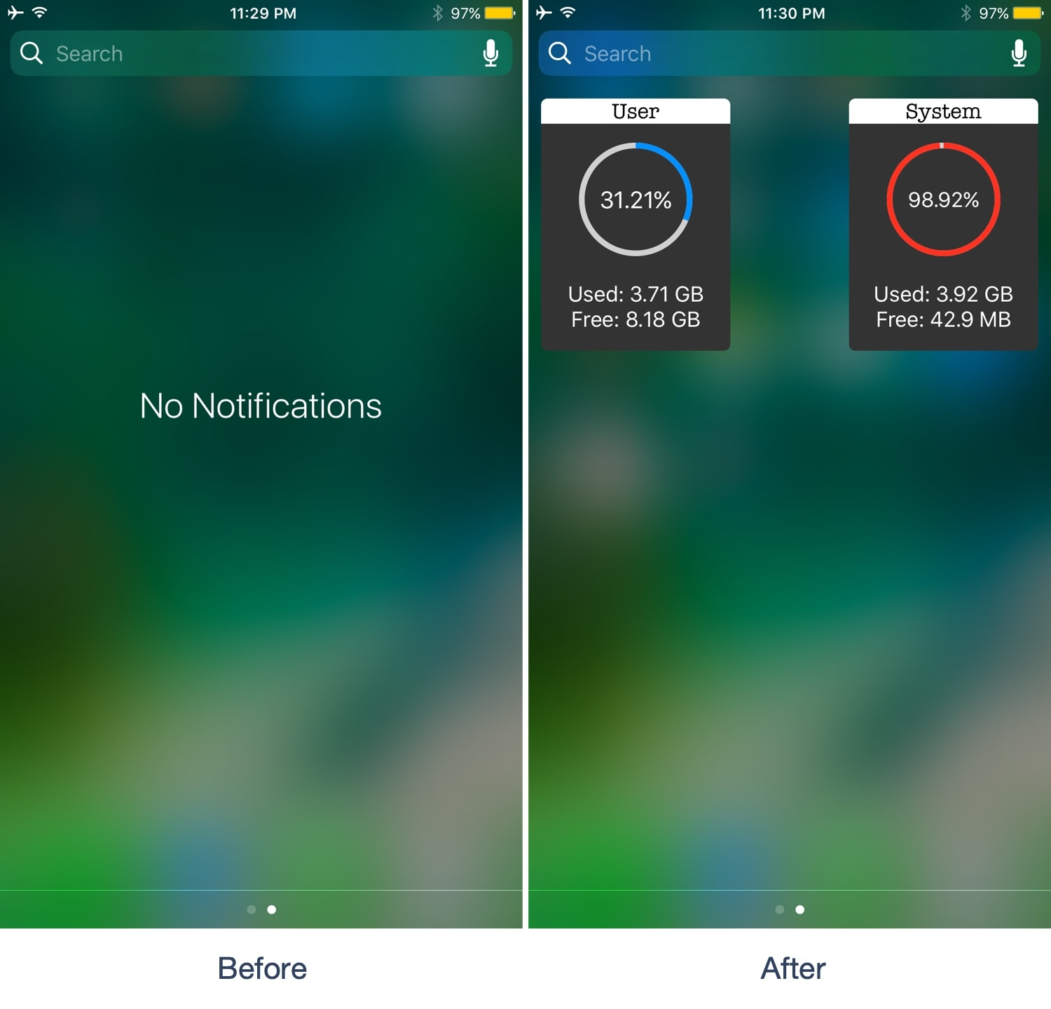 NCFancy replaces the 'No Notifications' text in iOS 10's Notification Center with storage info