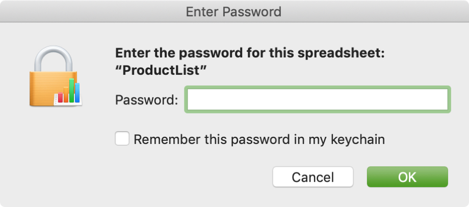 Password Required for Numbers on Mac