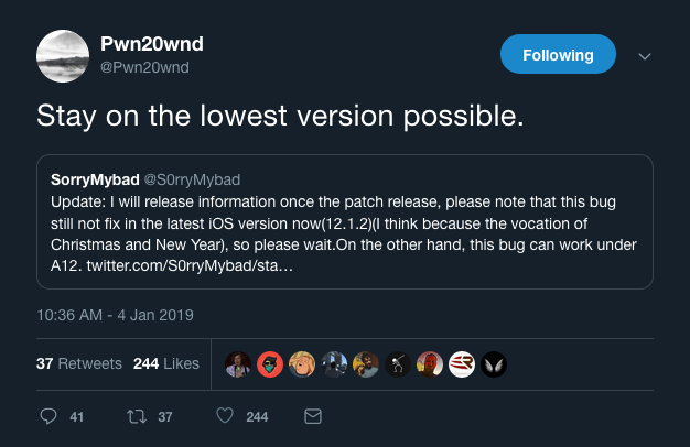 S0rryMybad could release an iOS 12 exploit after Apple