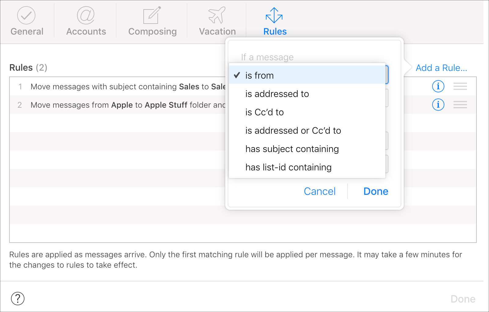 Set up If in iCloud Mail Rules