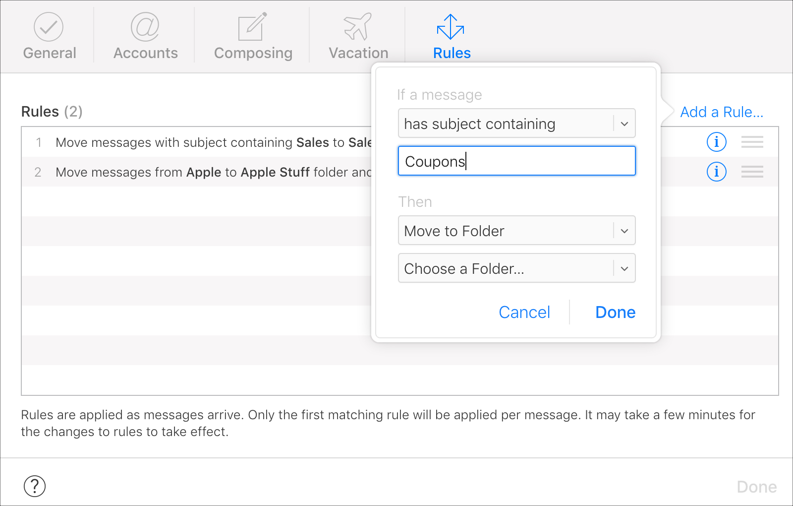 Set up If text in iCloud Mail Rules
