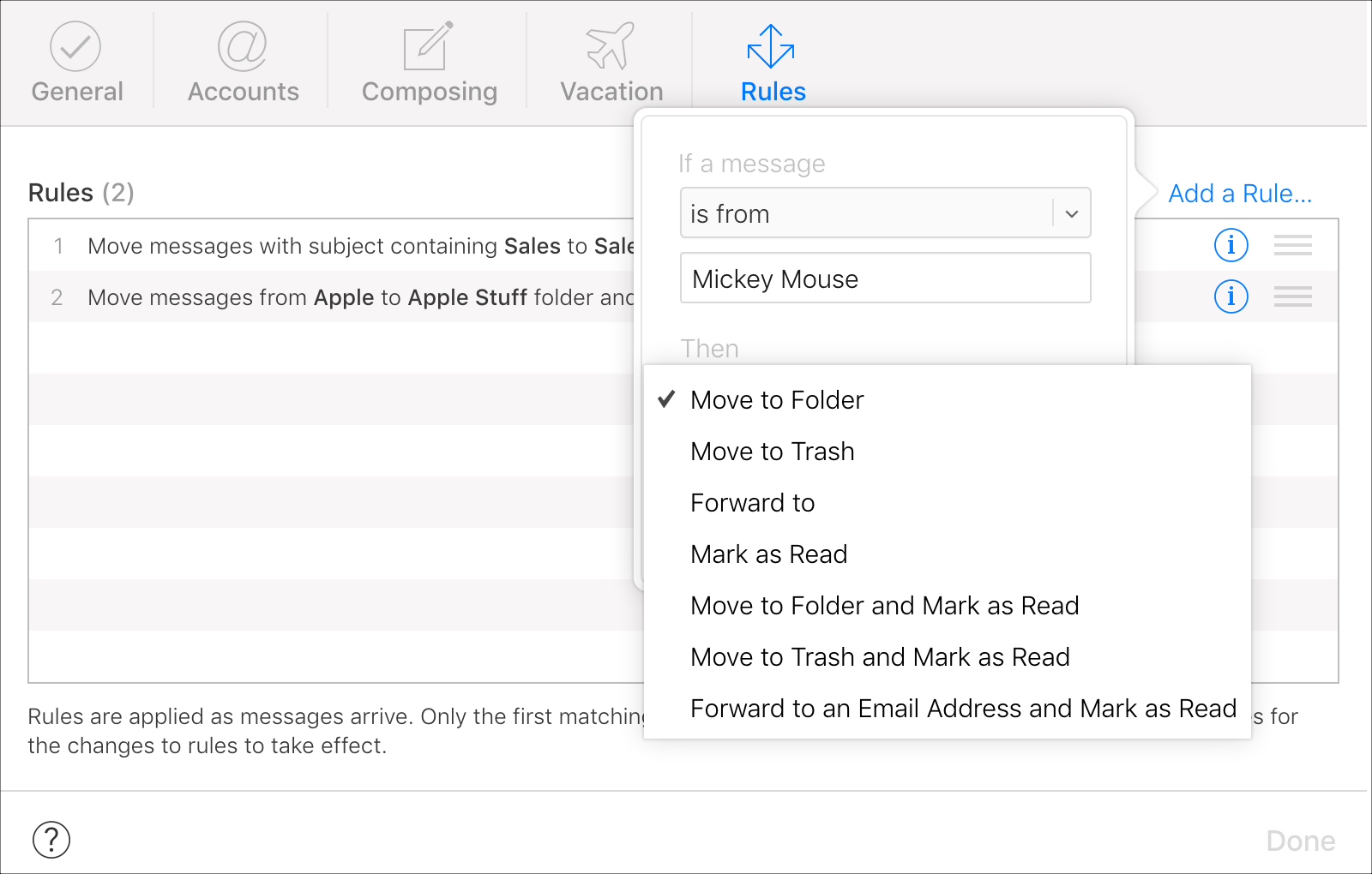 Set up Then dropdown in iCloud Mail Rules