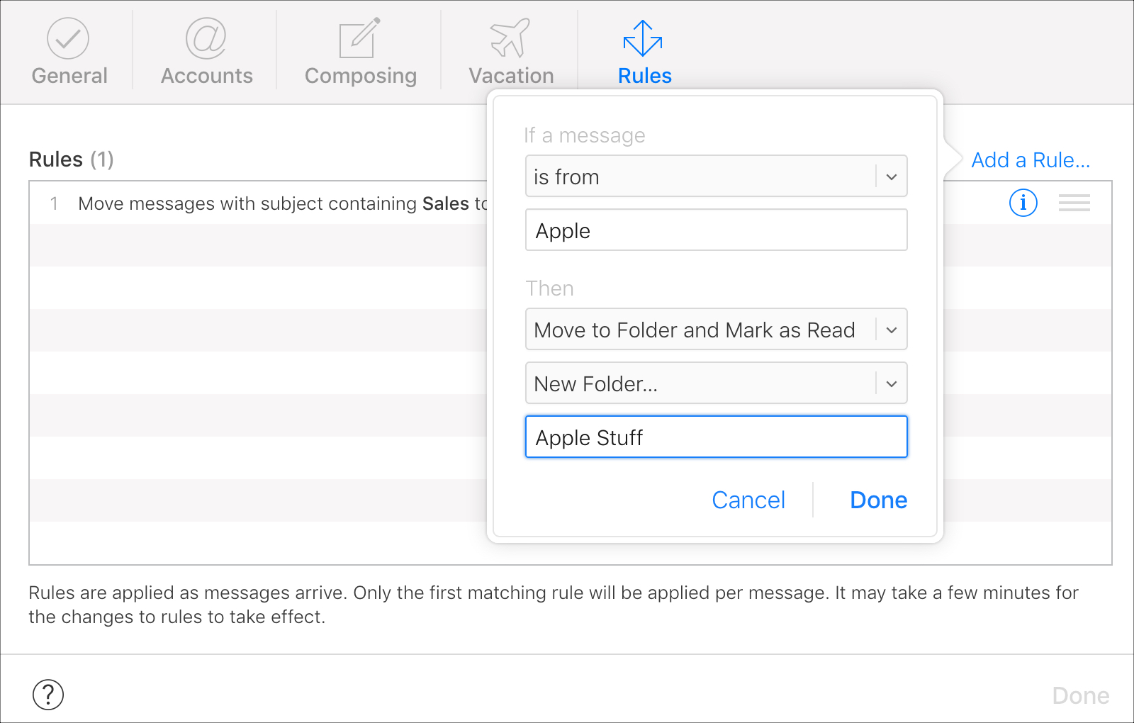 Set up Then in iCloud Mail Rules