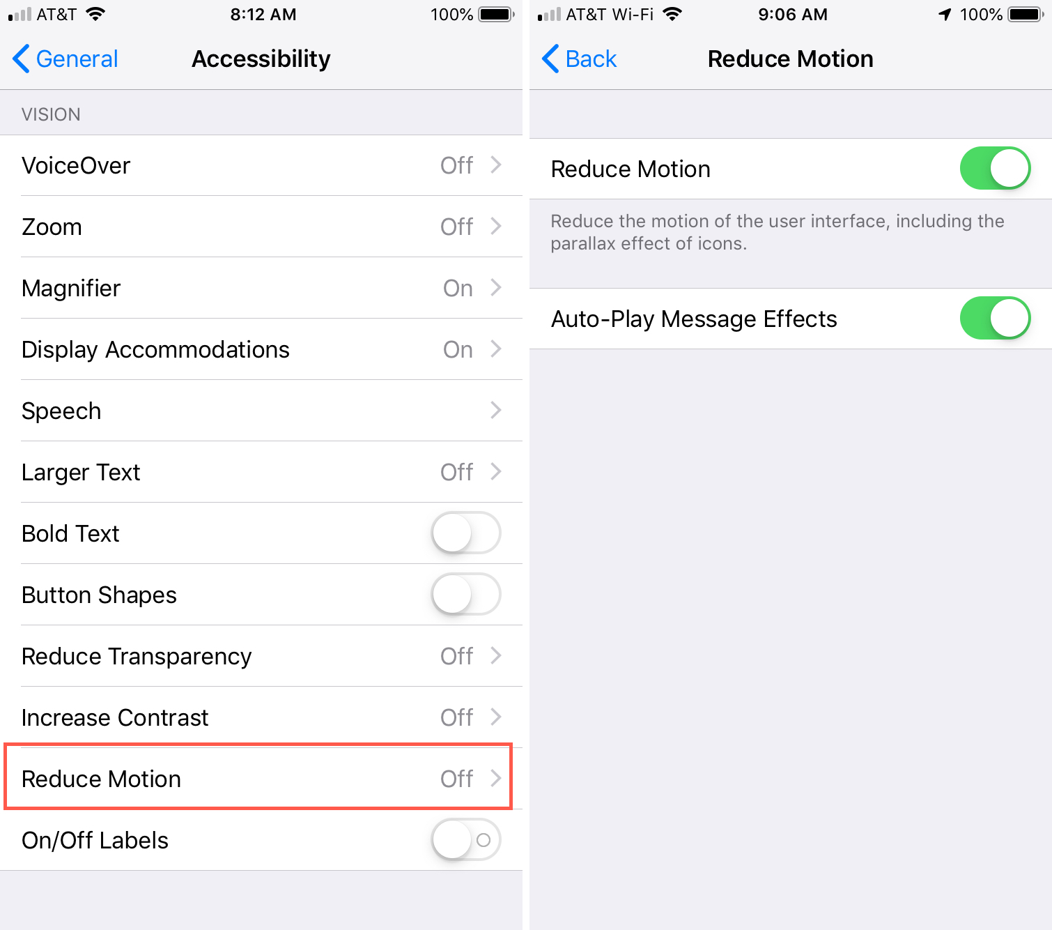 Settings Accessibility Reduce Motion on iPhone