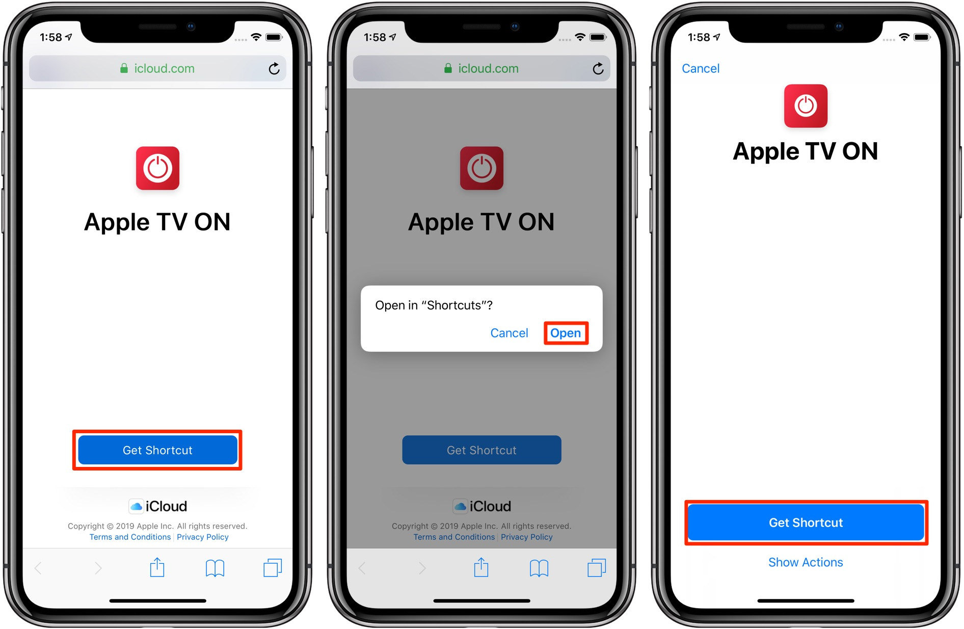 iOS automation workflows — turn on Apple TV shortcut Shortcut app screenshot 001