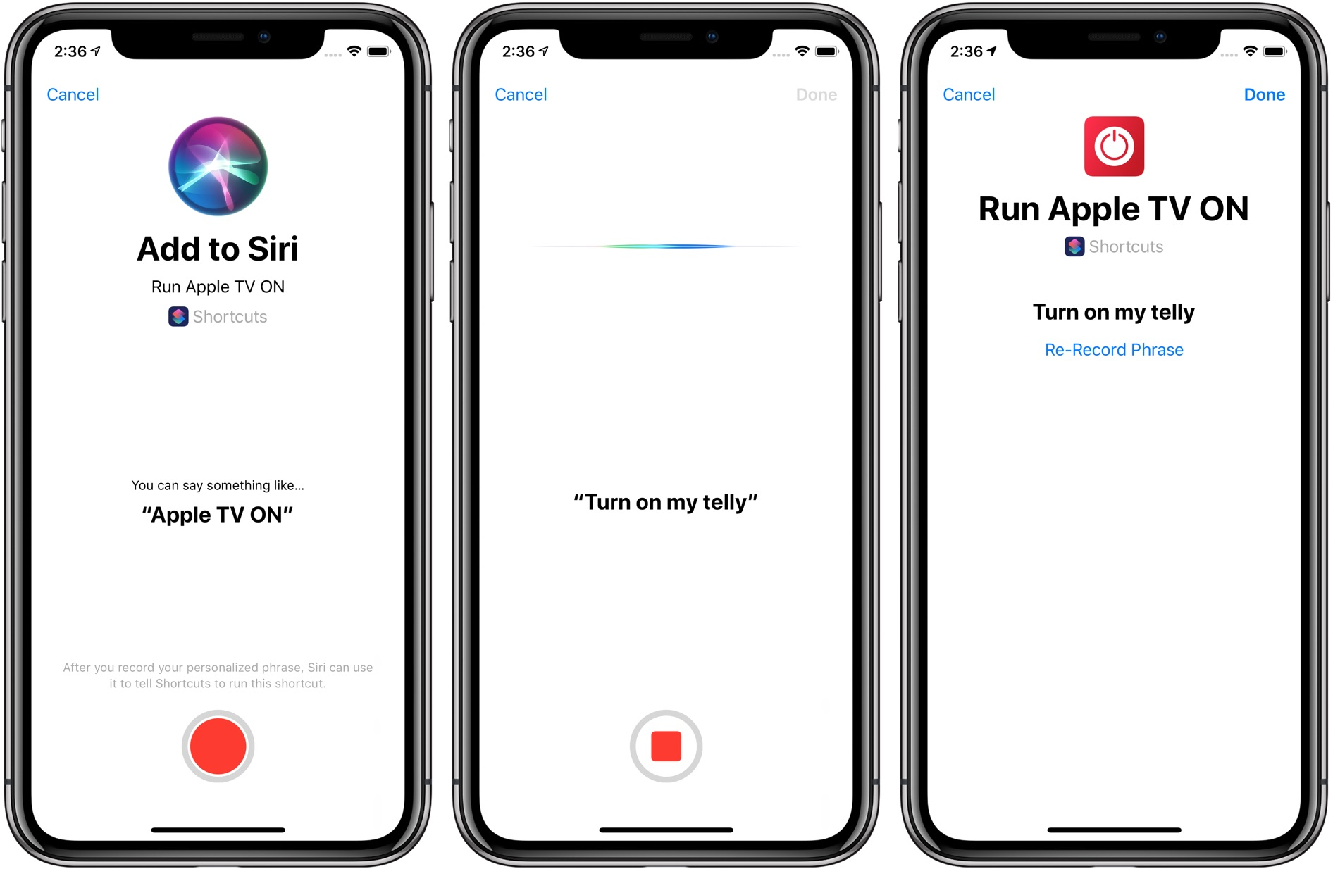 iOS automation workflows - creating a custom trigger phrase for Siri