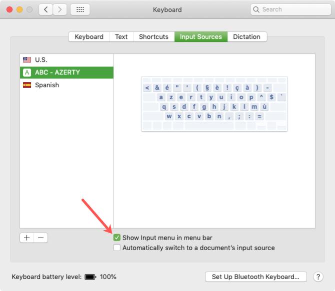 Show Keyboard Layout in Menu Bar on Mac