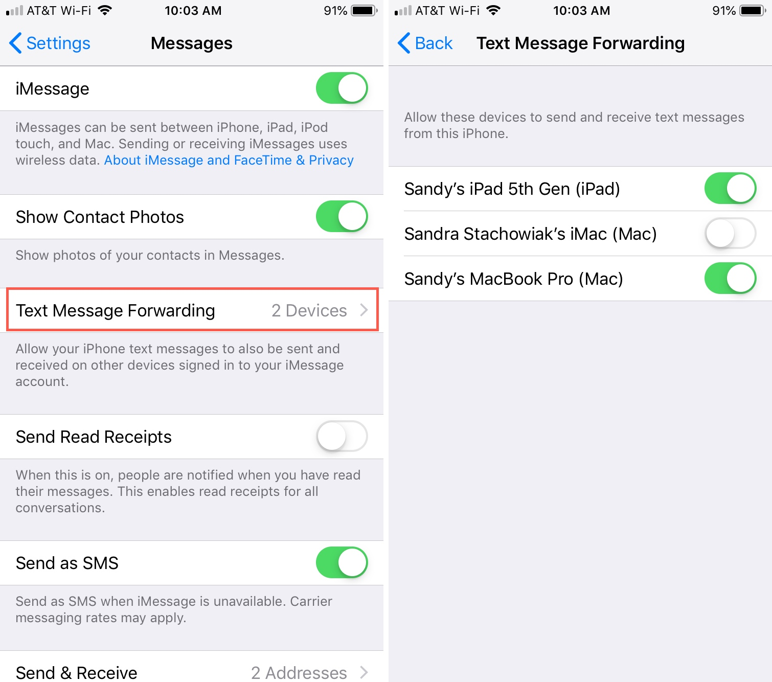 Text Message Forwarding on iPhone for iPad Mac