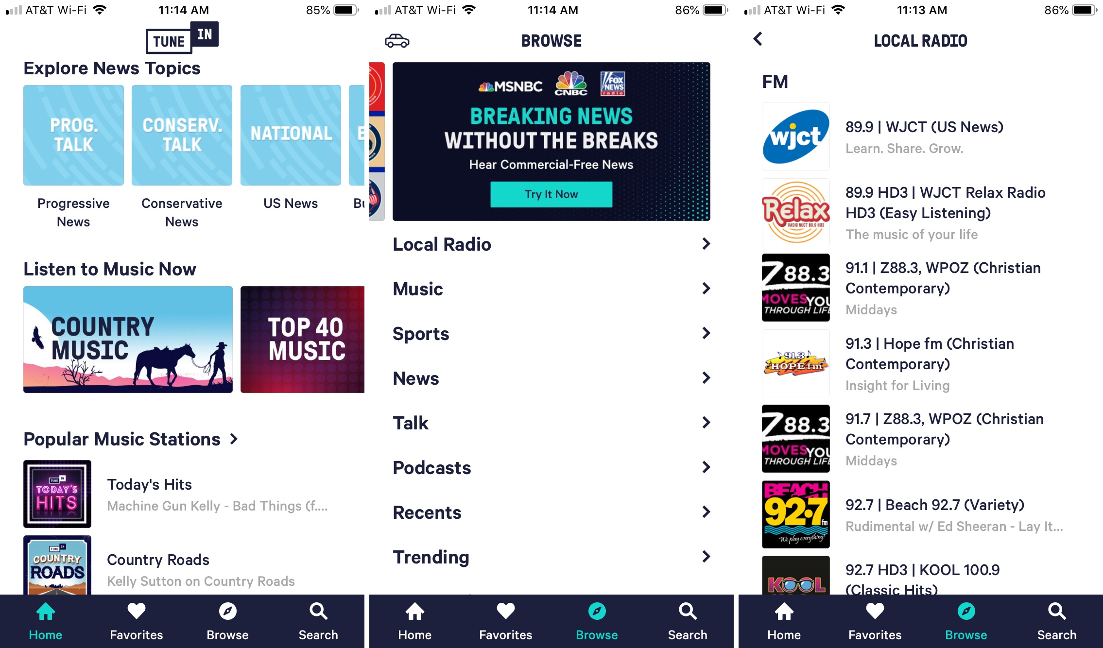 TuneIn Radio app on iPhone