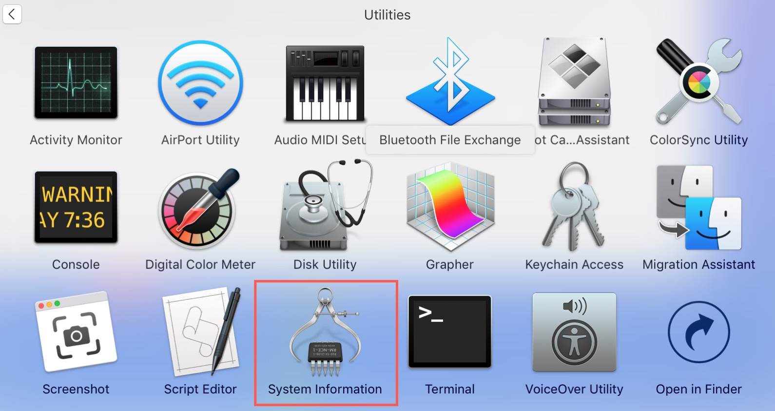 Utilities System Information in Applications Folder