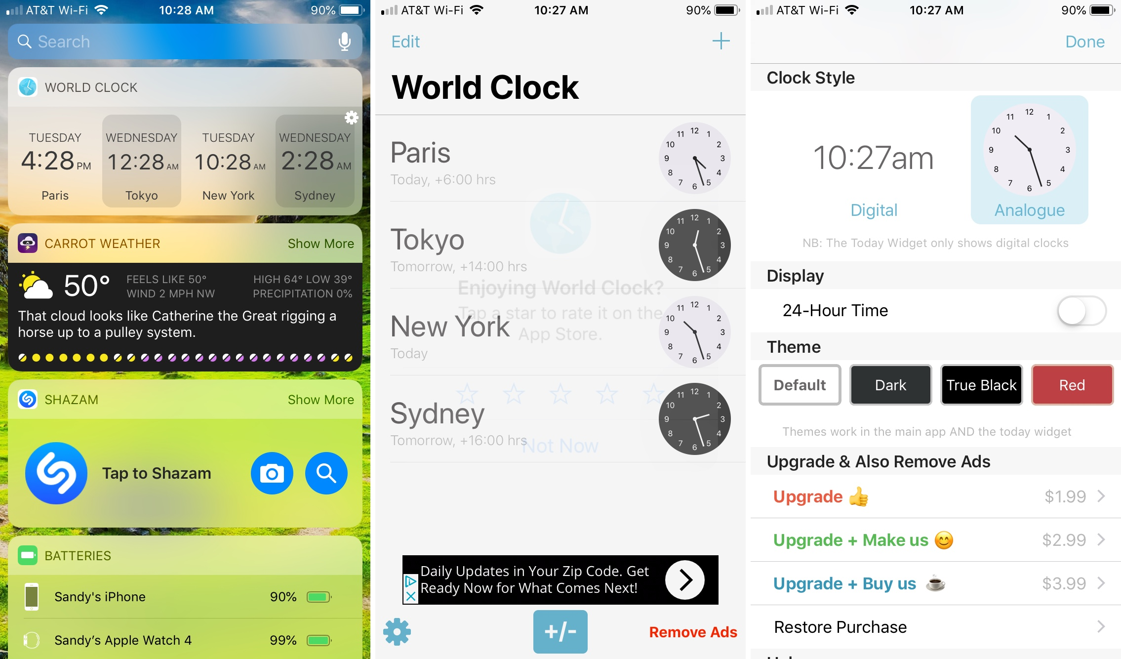 World Clock Time Widget app on iPhone