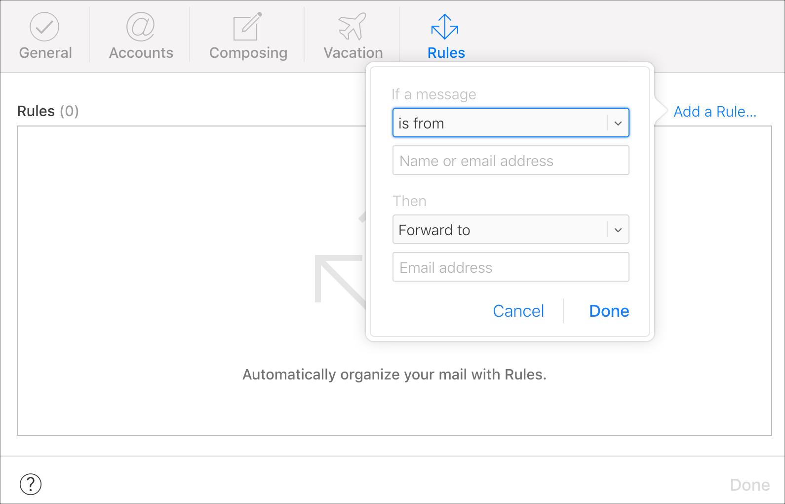 iCloud Email Forwarding Rule