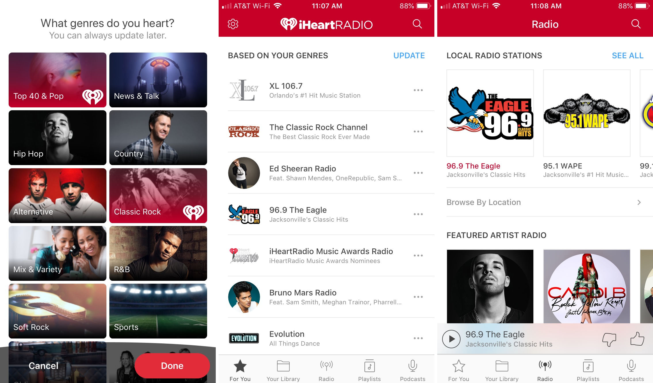 iHeartRadio app on iPhone