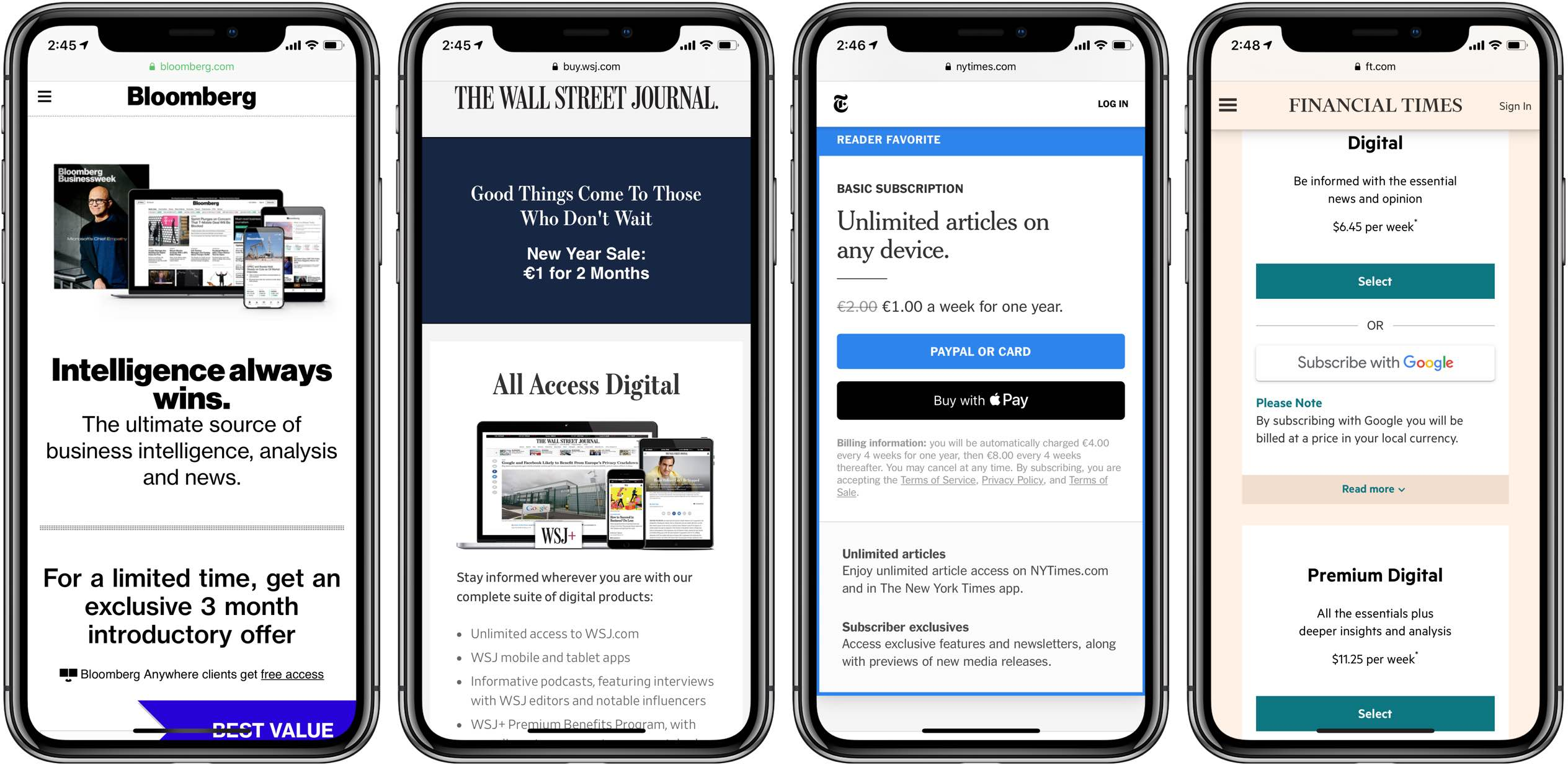 Bypass article paywalls shortcut - a screenshot showing paywalls on the WSJ, NYT, FT and Bloomberg