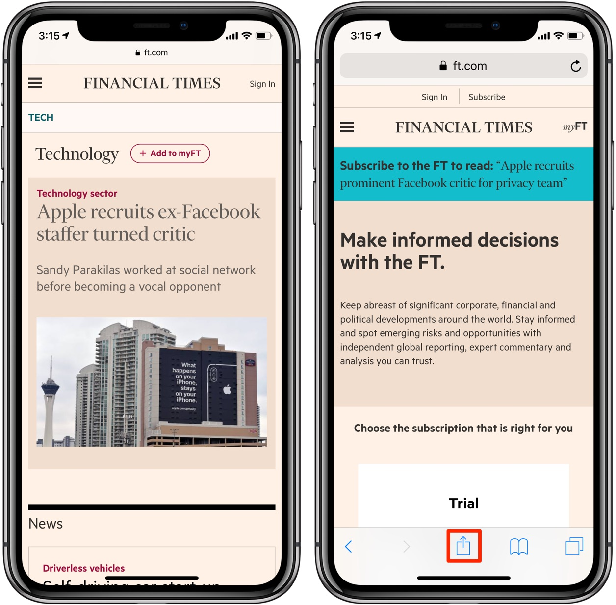 How to bypass article paywalls - the Financial Times paywall, Share menu highlighted in Safari