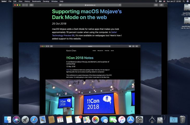 macOS Mojave 10 14 4 enables automatic Dark Mode on websites with