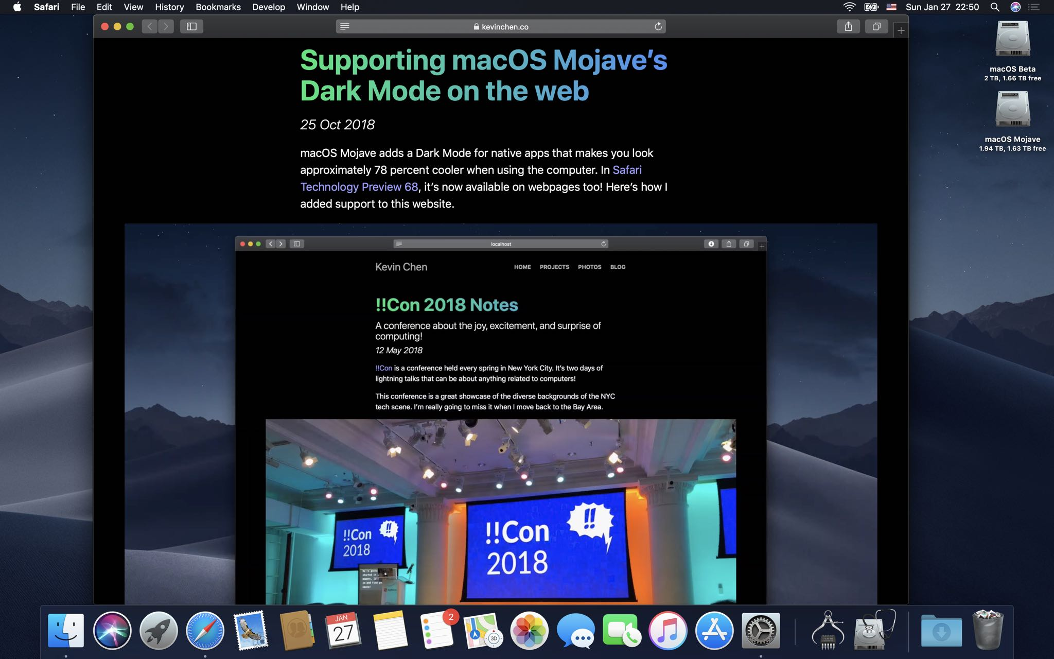 macOS Mojave 10 14 4 enables automatic Dark Mode on websites