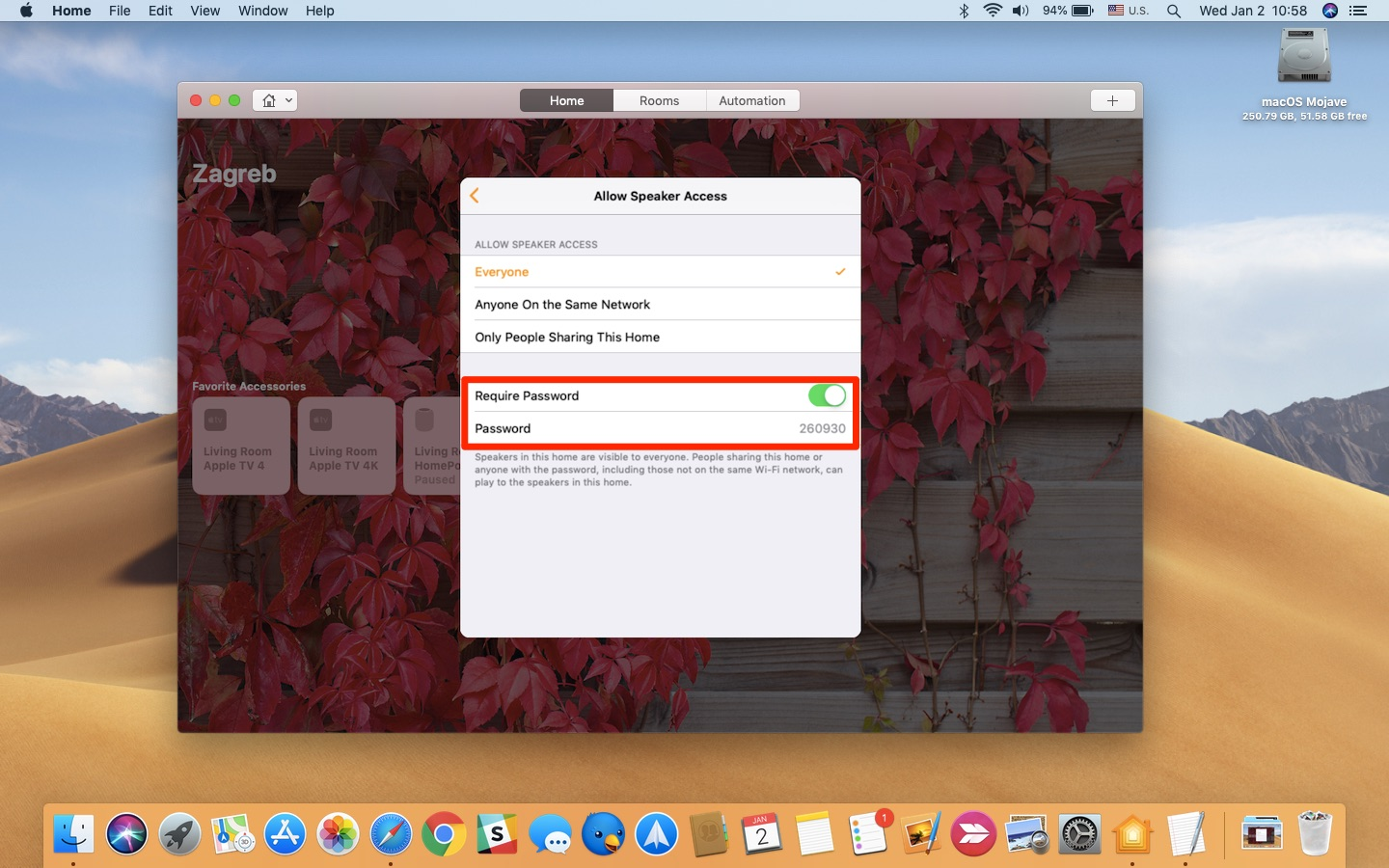 how to airplay audio to HomePod without wi-fi - setting up access control in Home for Mac