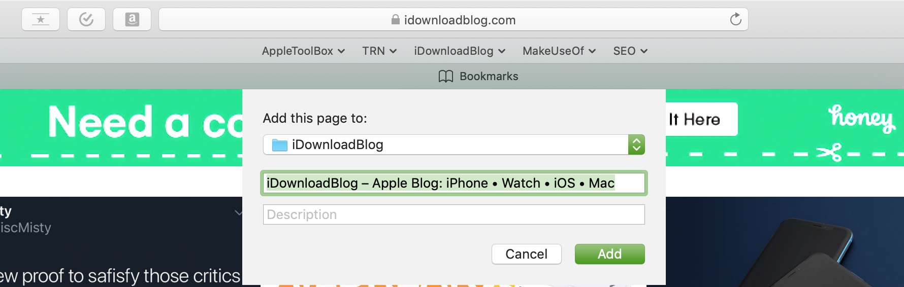 Add Safari Bookmarks on Mac