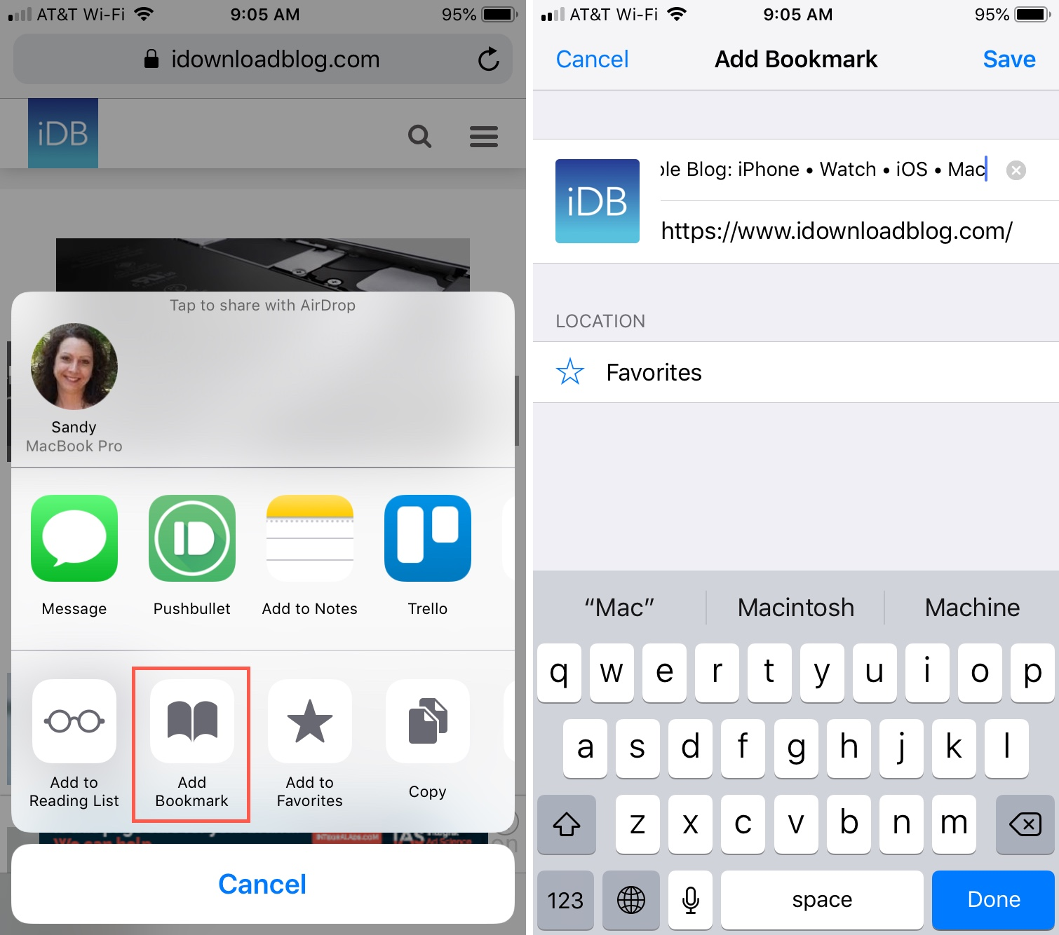 Add Safari Bookmarks on iPhone