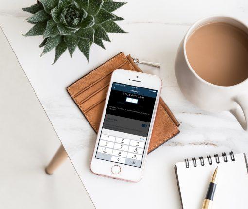Alexa app Voice Code on iPhone on desk