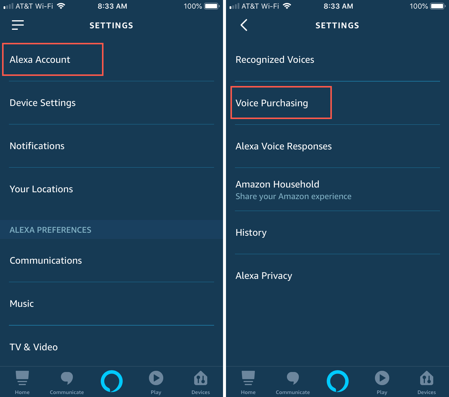 Alexa app settings Voice Purchasing iPhone