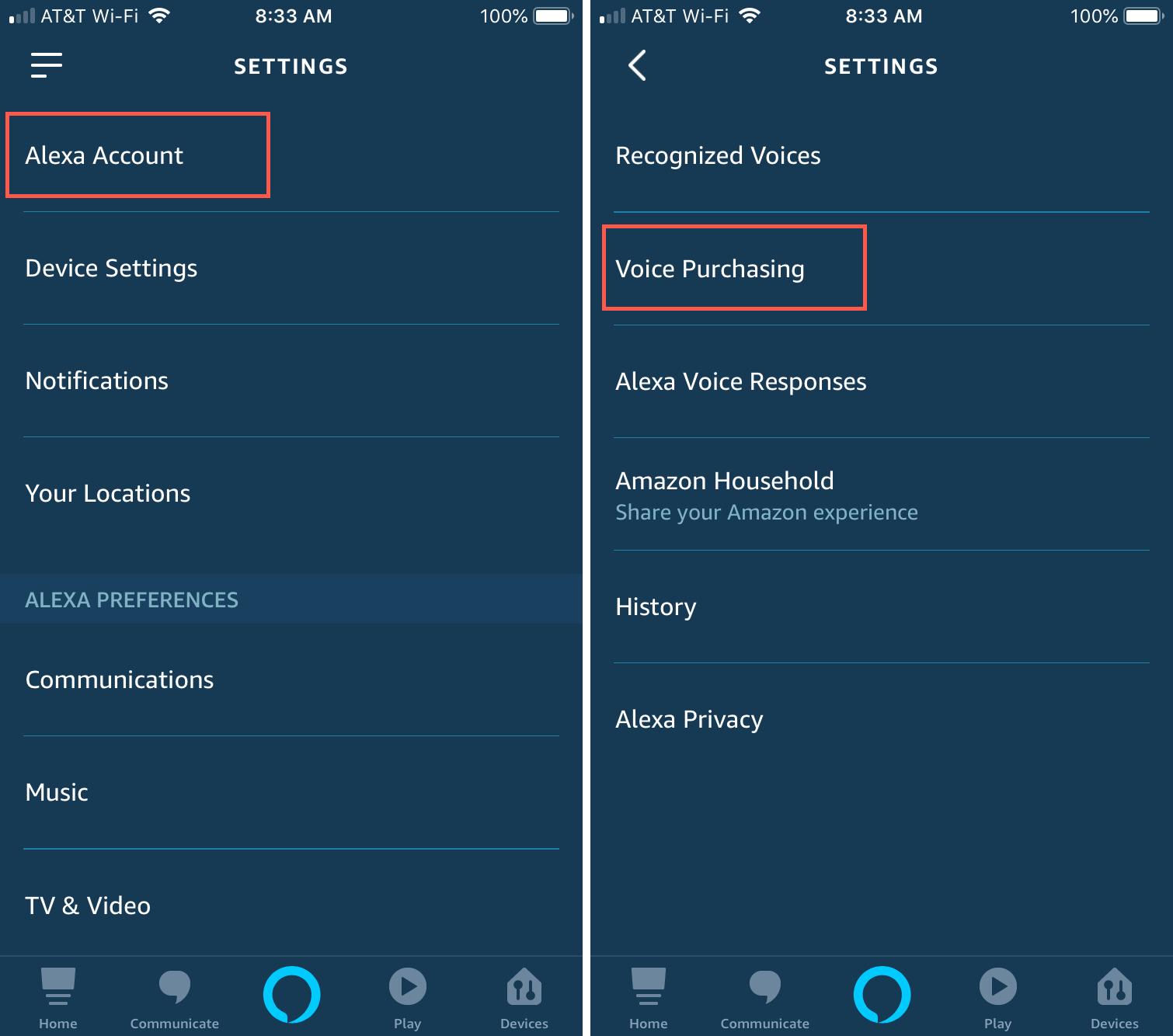 Alexa app settings Voice Purchasing iPhone