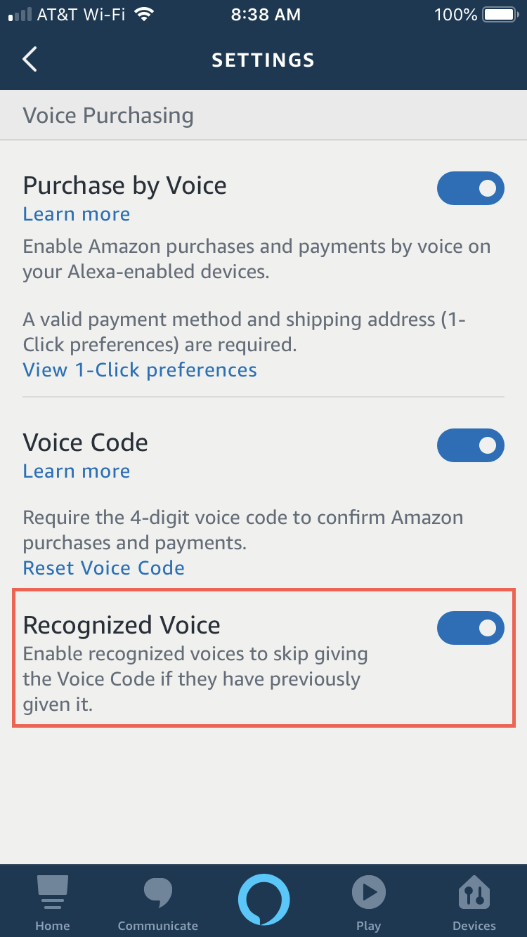 Alexa app settings with Recognized Voice iPhone