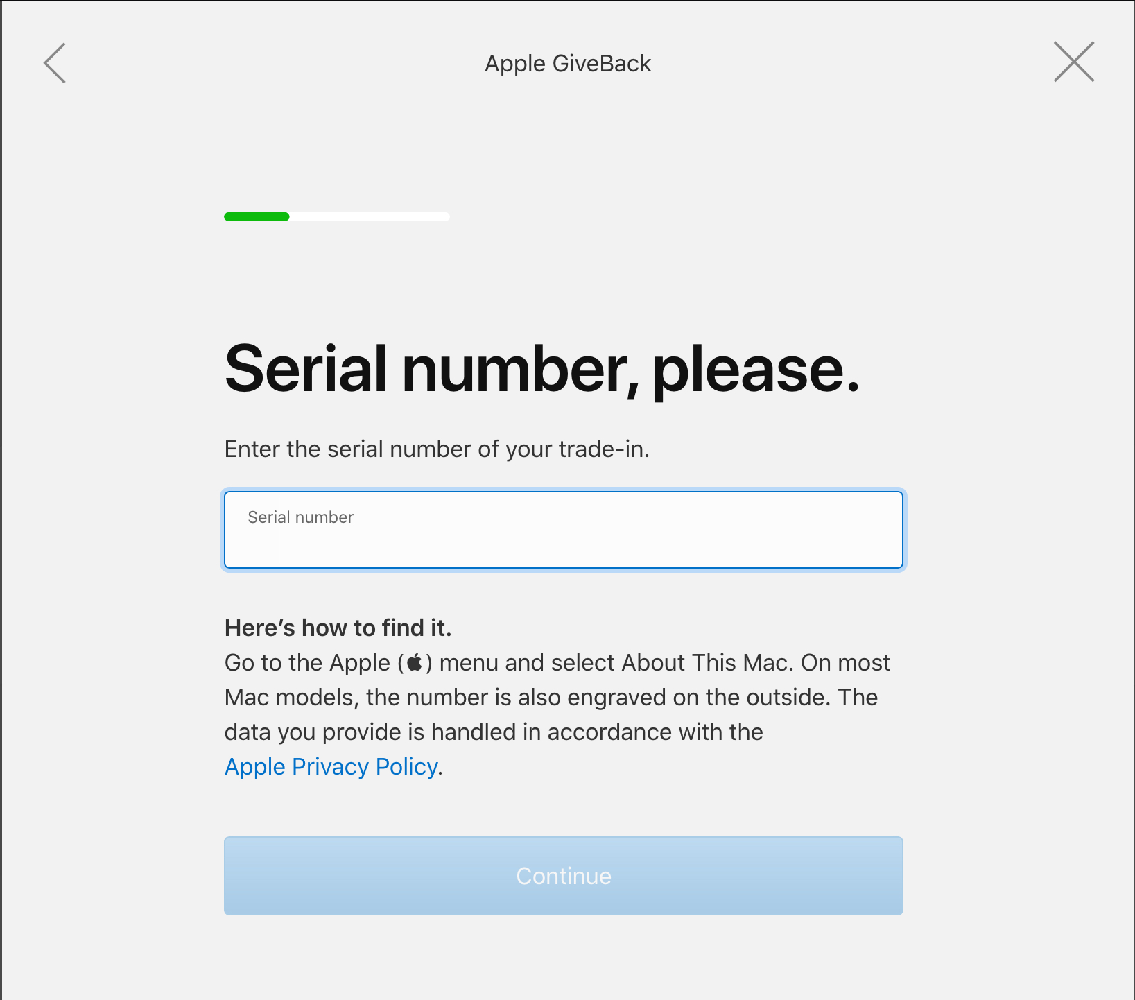 Apple GiveBack Serial Number