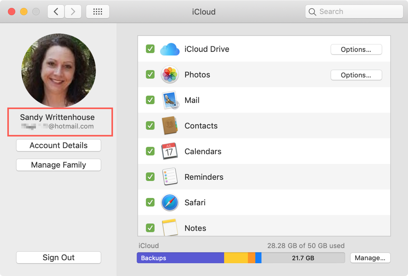 Apple ID on Mac in iCloud