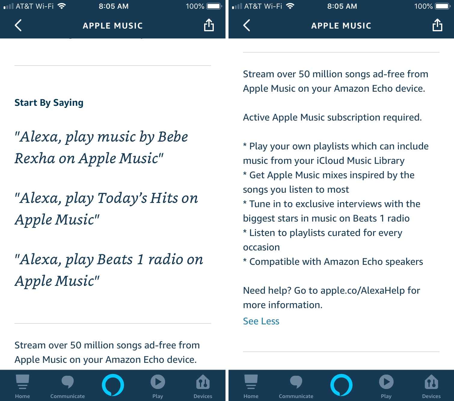 Apple Music Details in Alexa App