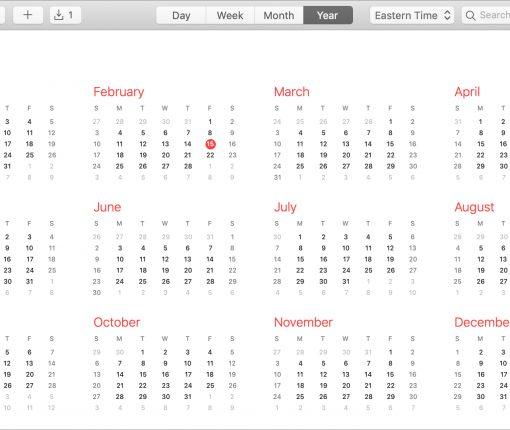 Calendar on Mac