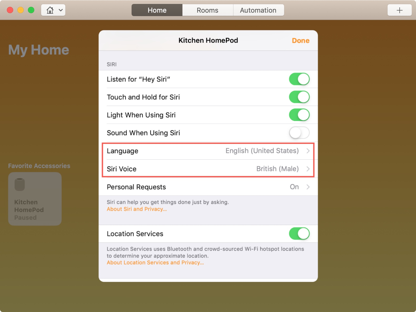 Change Siri Language and Voice on HomePod from Mac