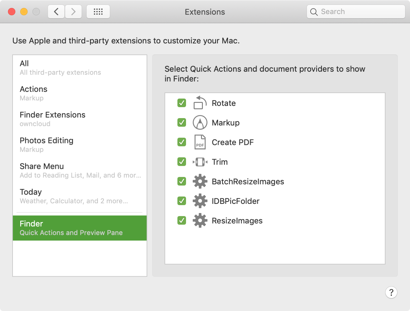 Customize Preview Pane Quick Actions Mac
