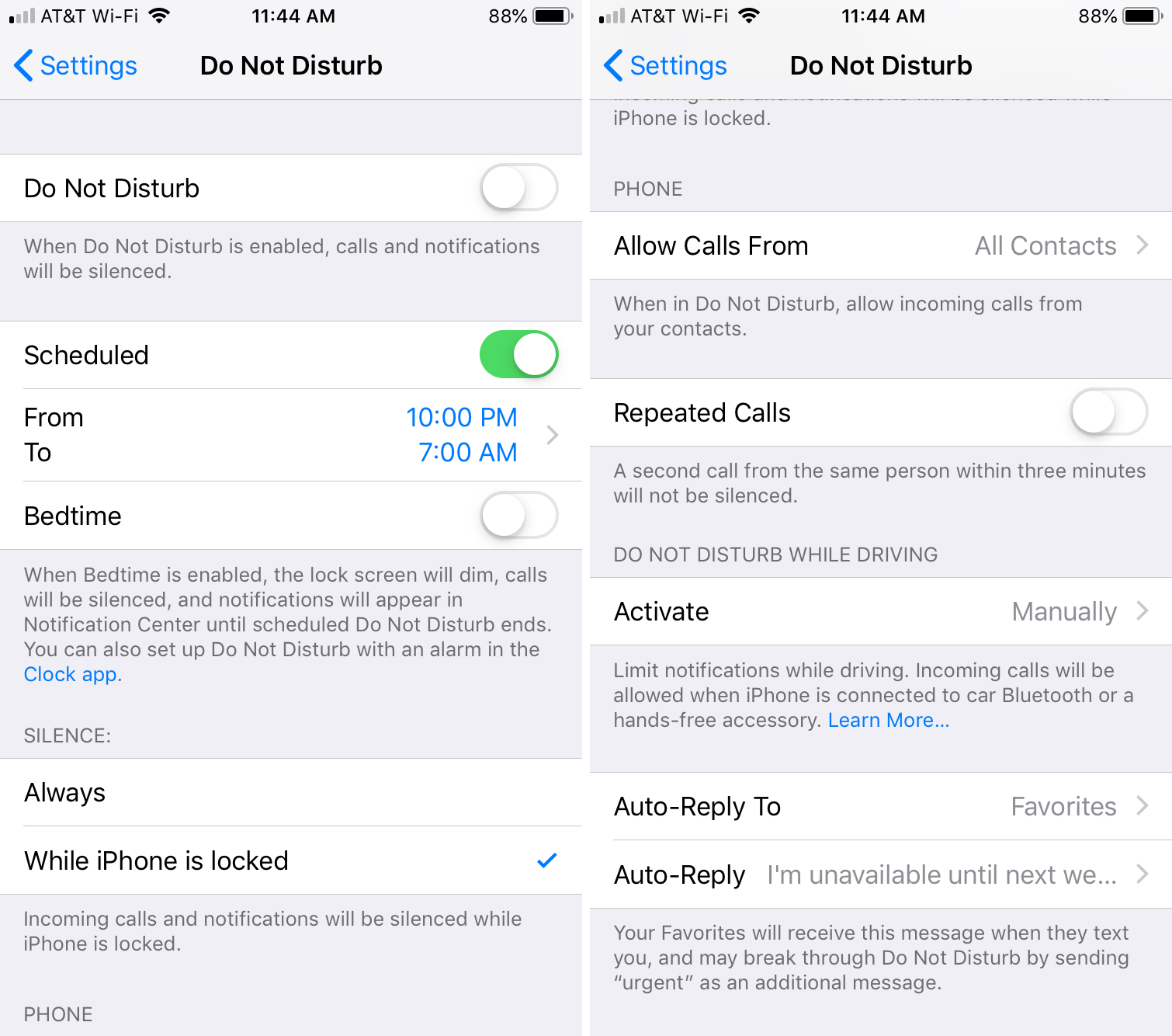 Do Not Disturb Options on iPhone