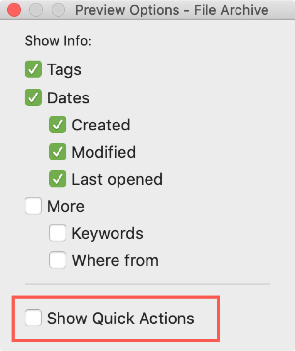 Document Preview Options Uncheck Quick Actions Mac