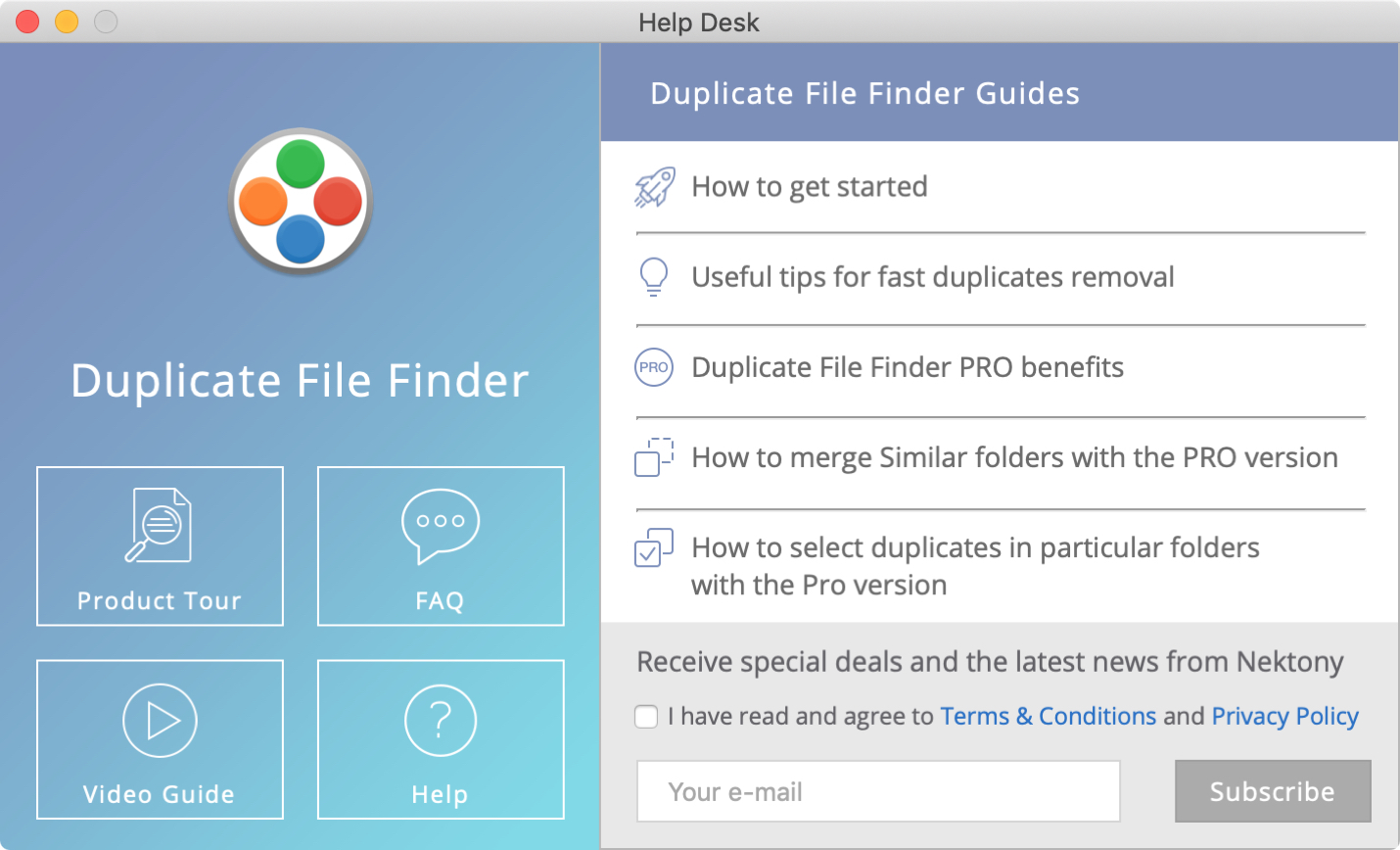 Duplicate File Finder Help Desk Mac