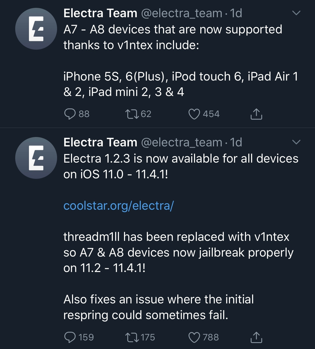 Electra update adds tihmstar's new v1ntex exploit, brings support