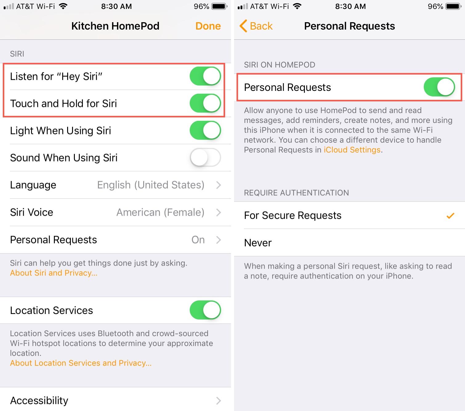 Habilitar Siri y solicitudes personales en iPhone