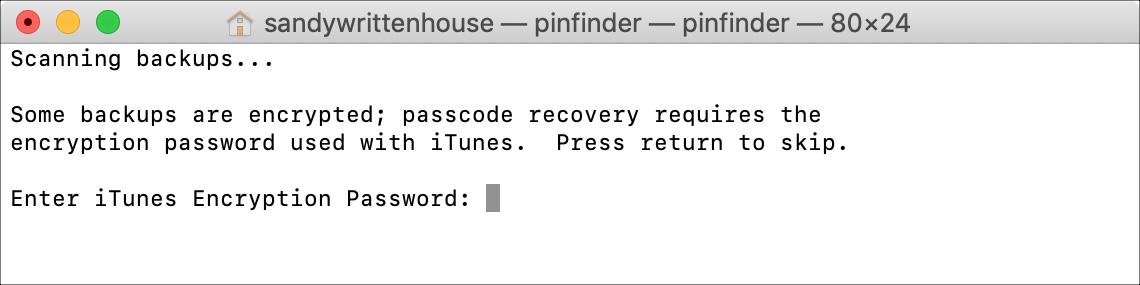 Enter Encryption Password iTunes Backup Terminal