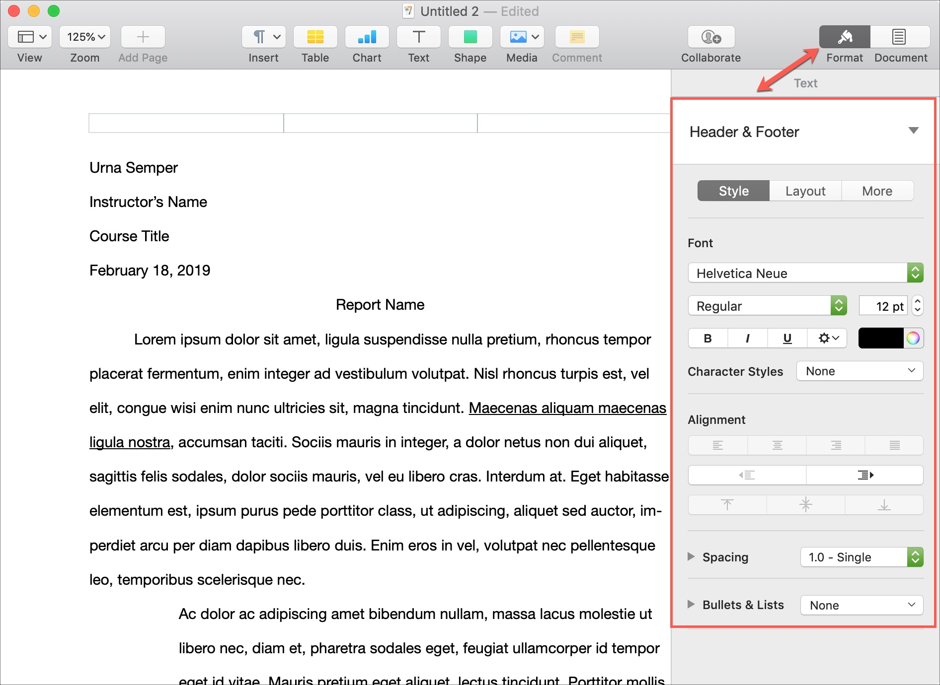 Format Headers and Footers Pages on Mac