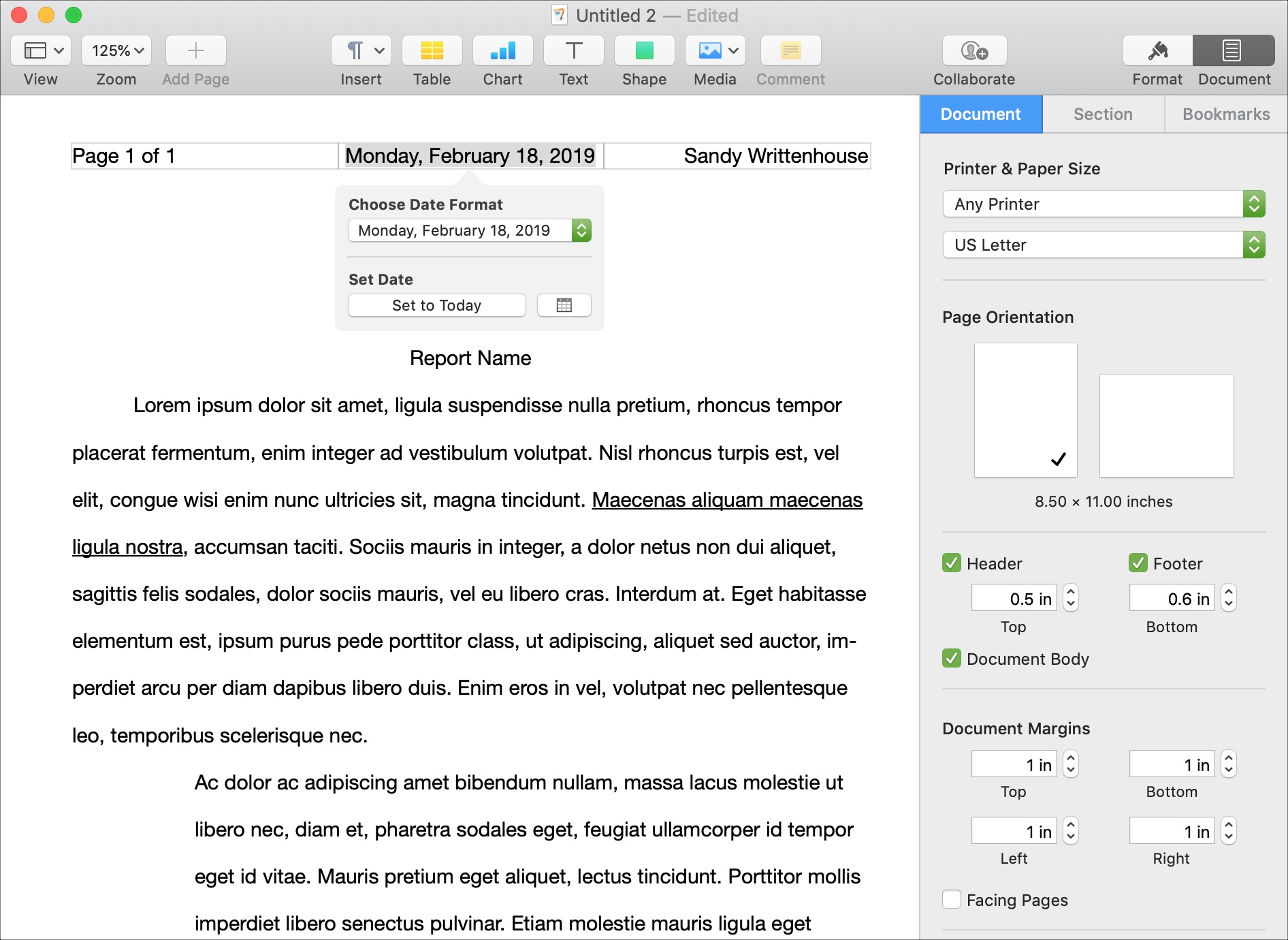 Header in Pages on Mac