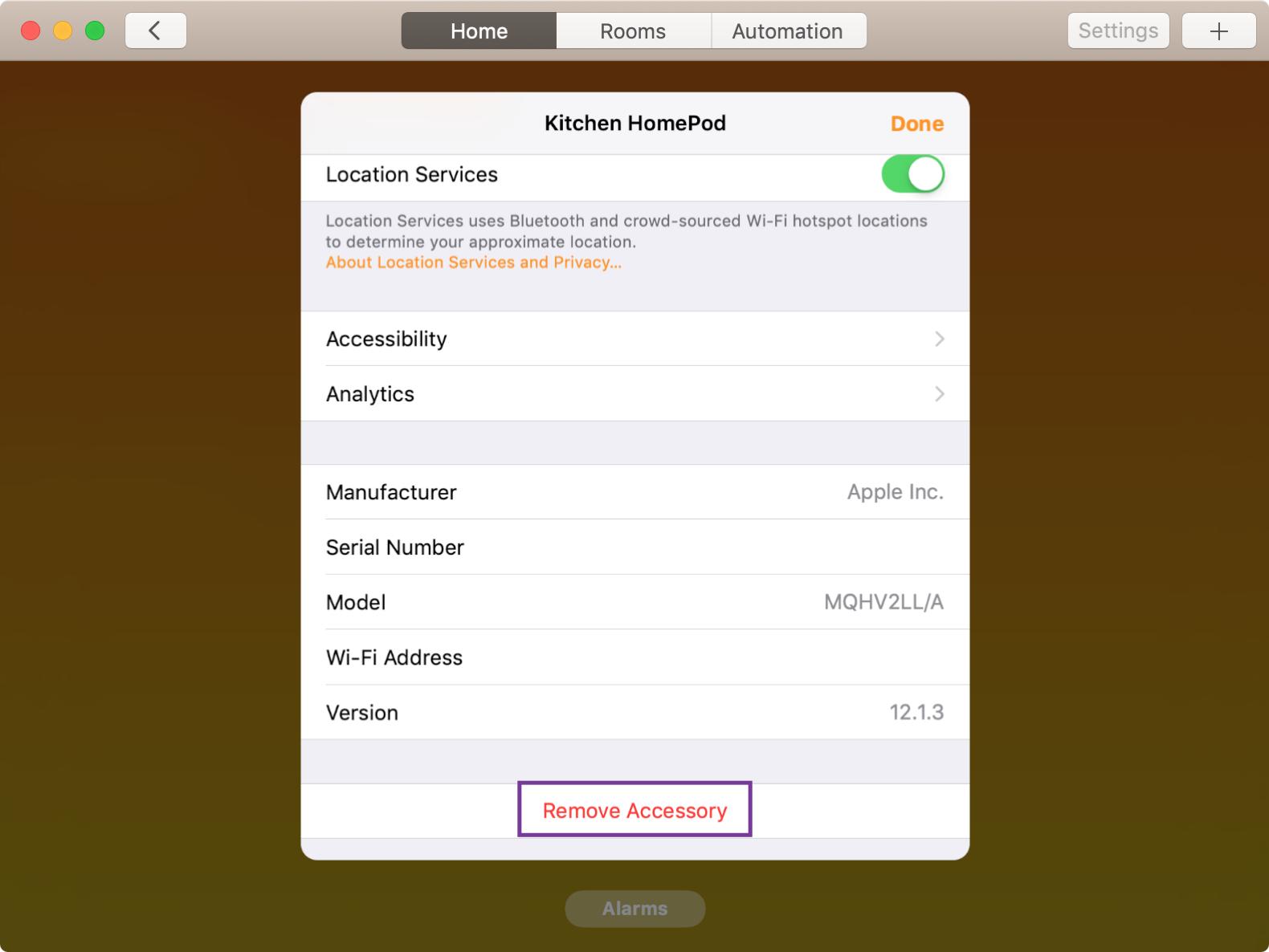 HomePod Remove Accessory on Mac