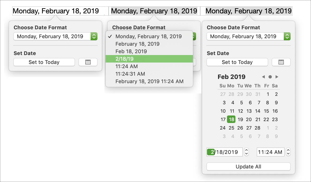 Insert Date Pages on Mac
