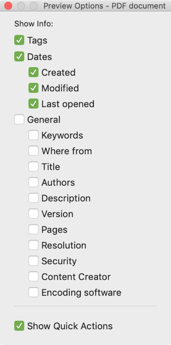 PDF Preview Options Mac