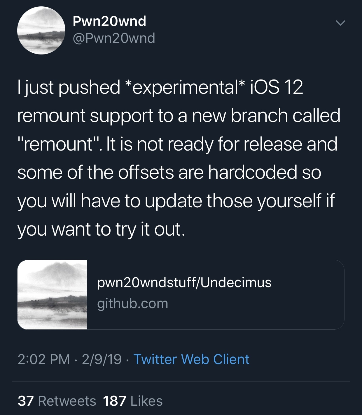 A rootfs remount is being released for iOS 12, raising hope